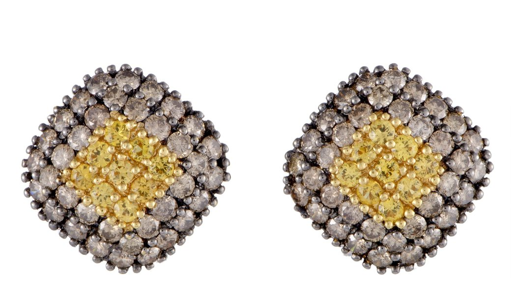 LB Exclusive LB Exclusive Italian 18K Yellow Gold Brown Diamond and Yellow Sapphire Pave Rhomb Earri