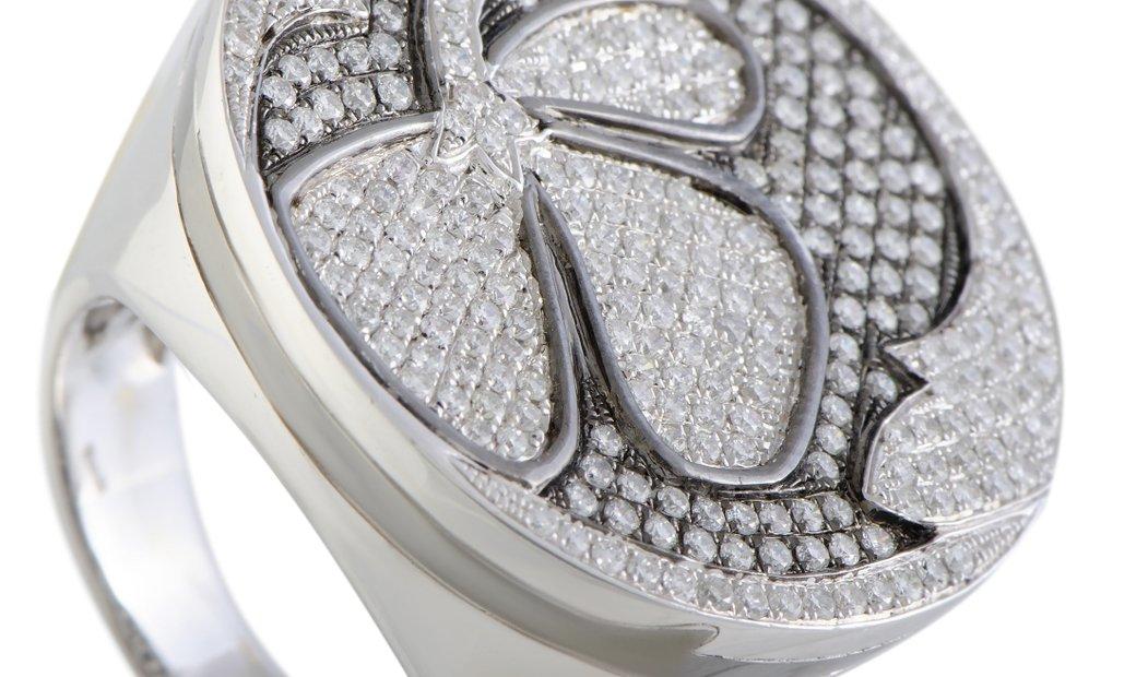 Nouvelle Bague Nouvelle Bague Petali 18K White Gold Diamond Pave and Black Enamel Flower Large Round