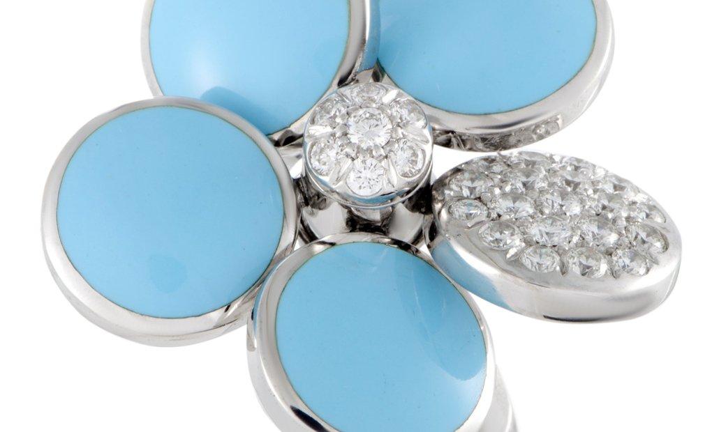 Cantamessa Cantamessa 18K White Gold Diamond Pave and Enamel Ring