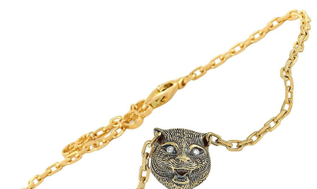 Gucci Gucci LMDM 18K Yellow Gold Diamond and Jade Feline Motif Charm Bracelet Size 18