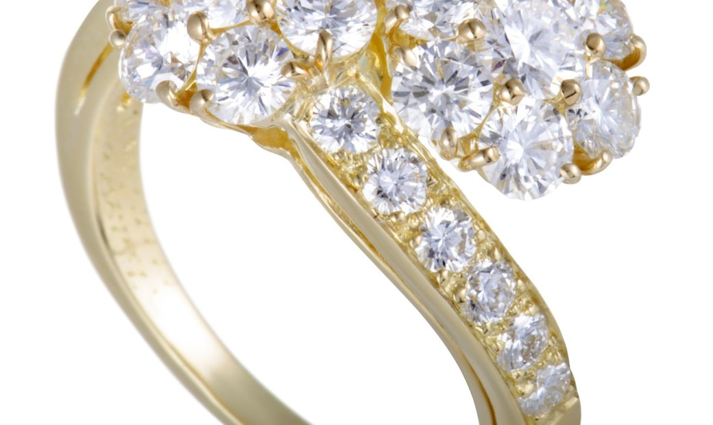 Van Cleef & Arpels Van Cleef & Arpels Fleurette 18K Yellow Gold Diamond Flower Bypass Ring
