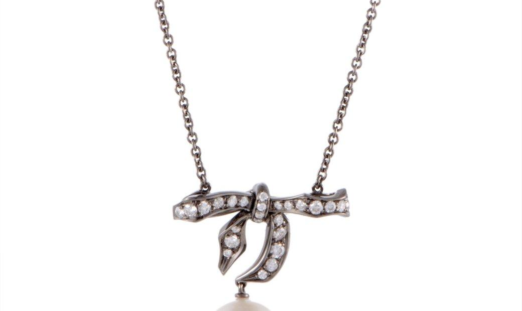 Mikimoto Mikimoto 18K White Gold and Black Rhodium Diamond and 9.0-10.0mm White Pearl Bow Pendant Ne