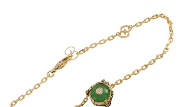 Gucci Gucci LMDM 18K Yellow Gold Diamond and Jade Feline Motif Charm Bracelet Size 17