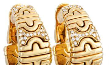 Bvlgari Bvlgari Parentesi 18K Yellow Gold and Diamond Clip-On Earrings