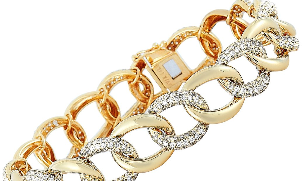 LB Exclusive LB Exclusive 14K Yellow Gold 3.50 ct Diamond Pave Chain Bangle Bracelet