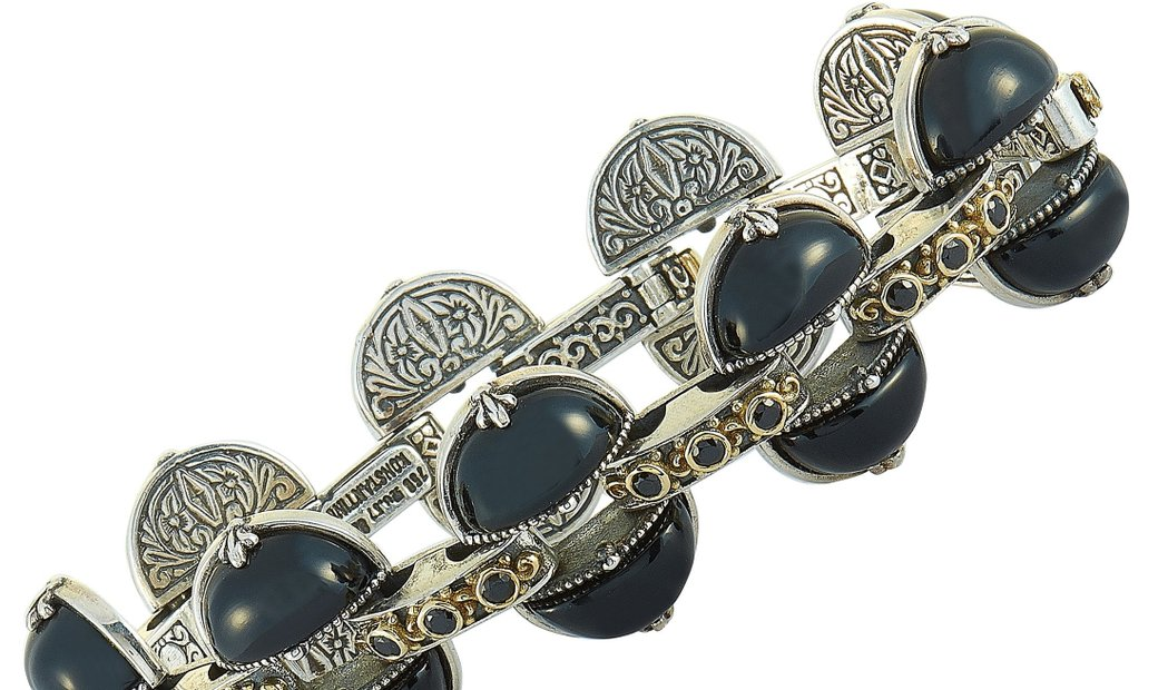 Konstantino Konstantino 18K Yellow Gold and Sterling Silver Onyx and Spinel Bracelet