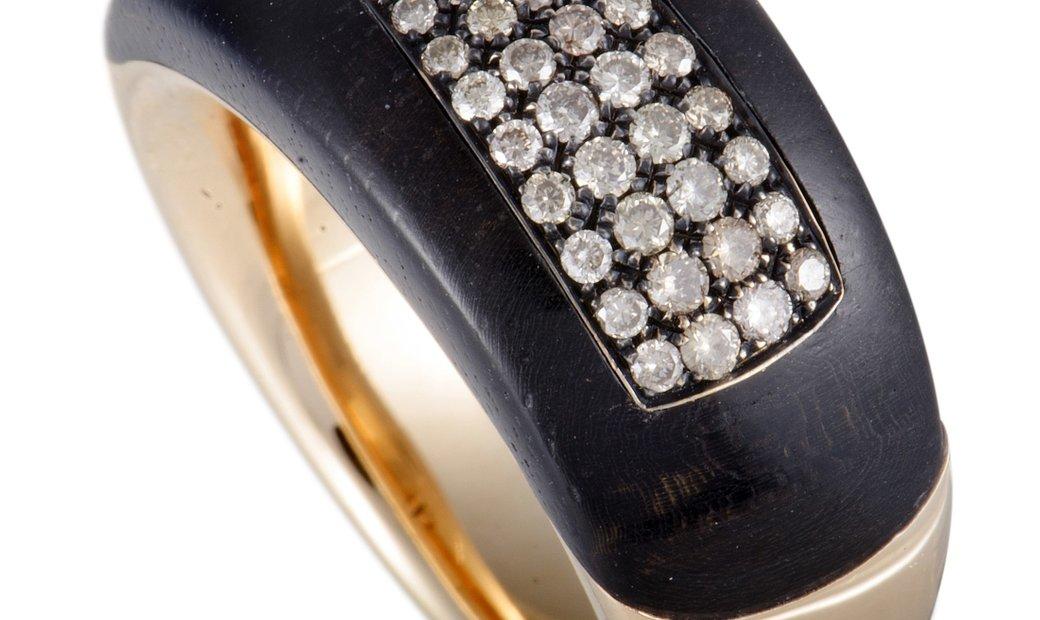 Bucherer  Bucherer 18K Rose Gold Brown Diamond Pave and Blackwood Band Ring
