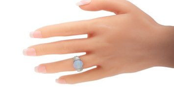 LB Exclusive LB Exclusive Platinum 0.86 ct Diamond and Opal Ring