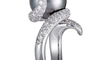 Mikimoto Mikimoto 18K White Gold Diamond and 13.0-14.0mm Black Pearl Ring