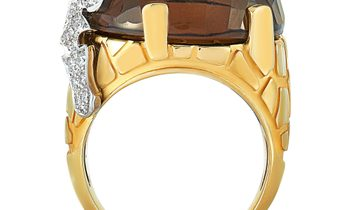 Carrera y Carrera Carrera y Carrera 18K Yellow and White Gold Diamond and Smoky Quartz Giraffe Ring
