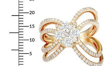 Non Branded 14K Rose Gold Diamond Pave Round Ring