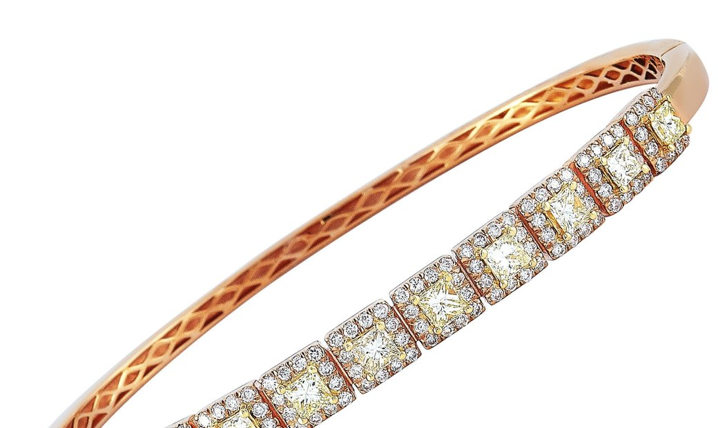 LB Exclusive LB Exclusive 18K Rose Gold 2.15 ct White and Yellow Diamond Bracelet
