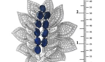 LB Exclusive LB Exclusive 18K White Gold ~8.50 ct Diamond and Sapphire Brooch