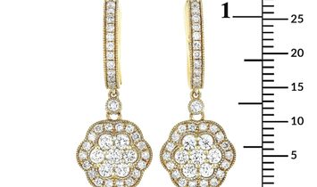 LB Exclusive LB Exclusive 18K Yellow Gold 1.05 ct Diamond Flower Earrings