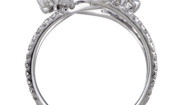 LB Exclusive LB Exclusive 18K White Gold Diamond Pave Flowers Openwork Ring