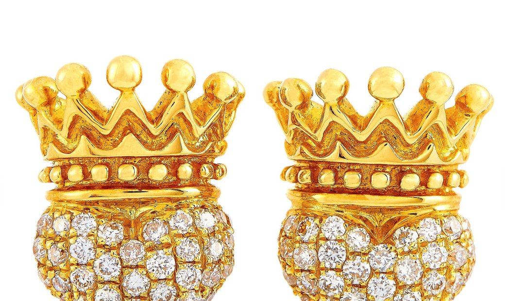 King Baby King Baby 18K Yellow Gold and Diamond Crowned Heart Earrings