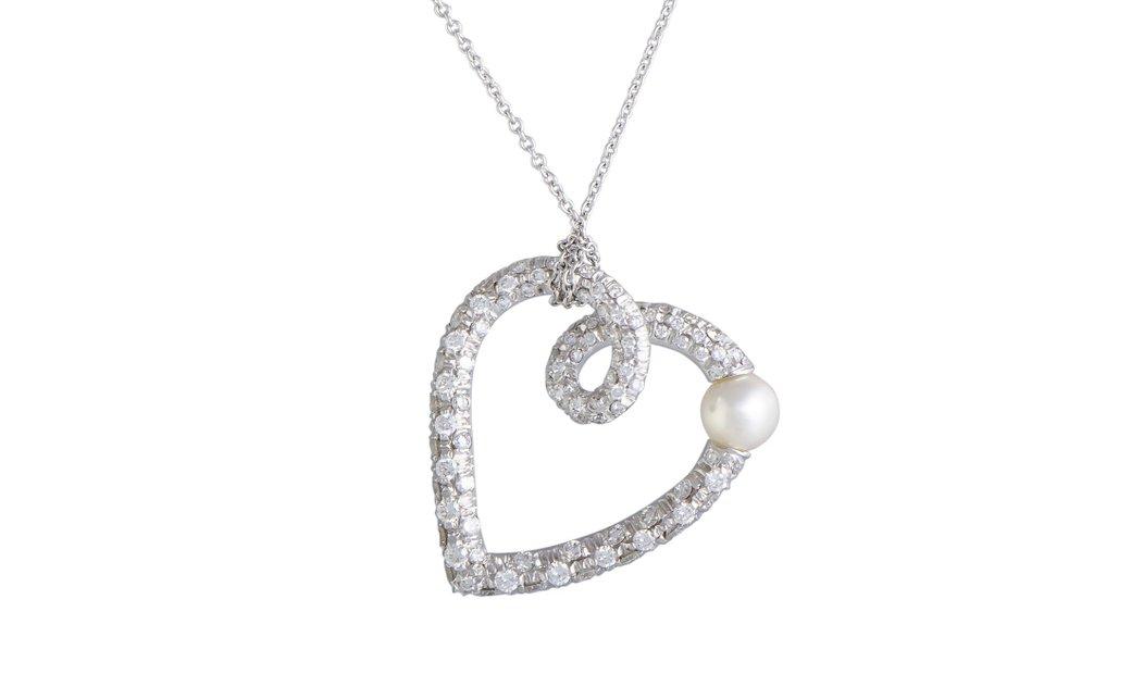 Mikimoto Mikimoto 18K White Gold Diamond and 5.0-8.5mm Akoya Pearl Heart Pendant