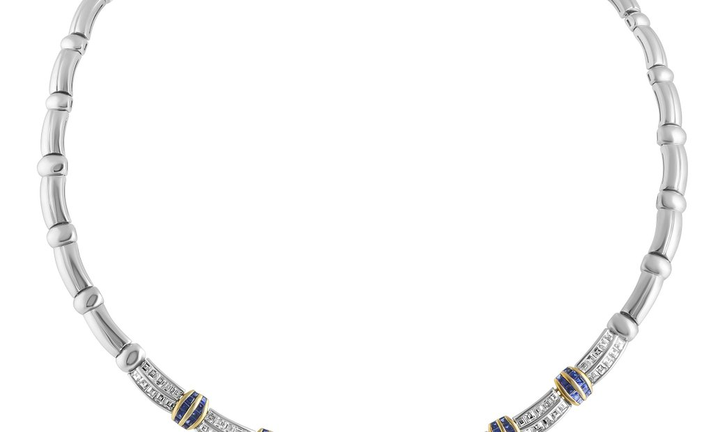 Picchiotti Picchiotti 18K White Gold Diamond and Sapphire Invisible Setting Omega Necklace