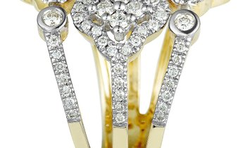 Non Branded 14K Yellow and White Gold Diamond 3 Flower Ring