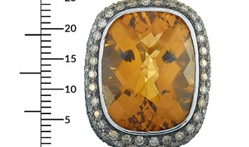 Roberto Coin Roberto Coin 18K White Gold Black and Brown Diamond and Citrine Ring