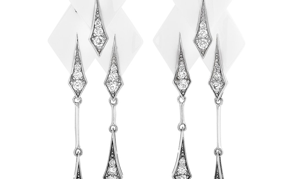Roberto DeMeglio Roberto Demeglio 18K White Gold and White Ceramic 1.34 ct Diamond Earrings