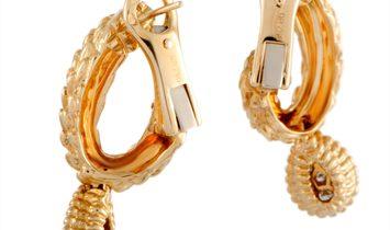 Boucheron Boucheron Toi et Moi Serpent Bohème 18K Yellow Gold Diamond Oval Hoop Omega Earrings