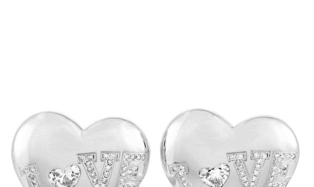 Chopard Chopard 18K White Gold Diamond Heart Earrings