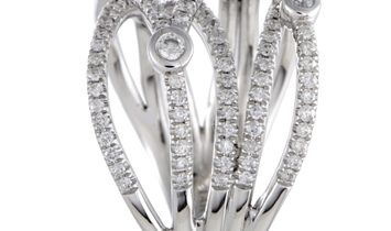 Non Branded 14K White Gold Diamond Crossover Band Ring