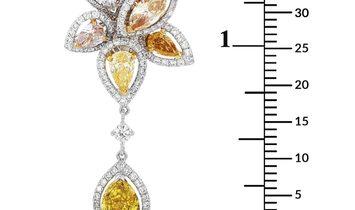 De Beers De Beers 18K Yellow Gold and Platinum 4.61 ct Pink/Light Green/Yellow/Orange Diamond Flower