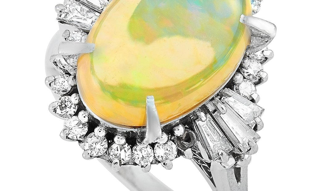 LB Exclusive LB Exclusive Platinum 0.88 ct Diamond and Opal Ring