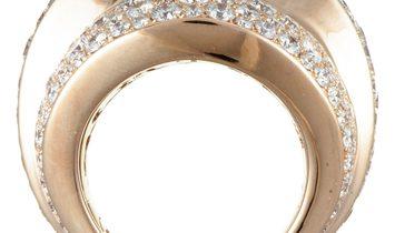 de Grisogono de Grisogono 18K Rose Gold Full Diamond Pave Wide Stepped Band Ring