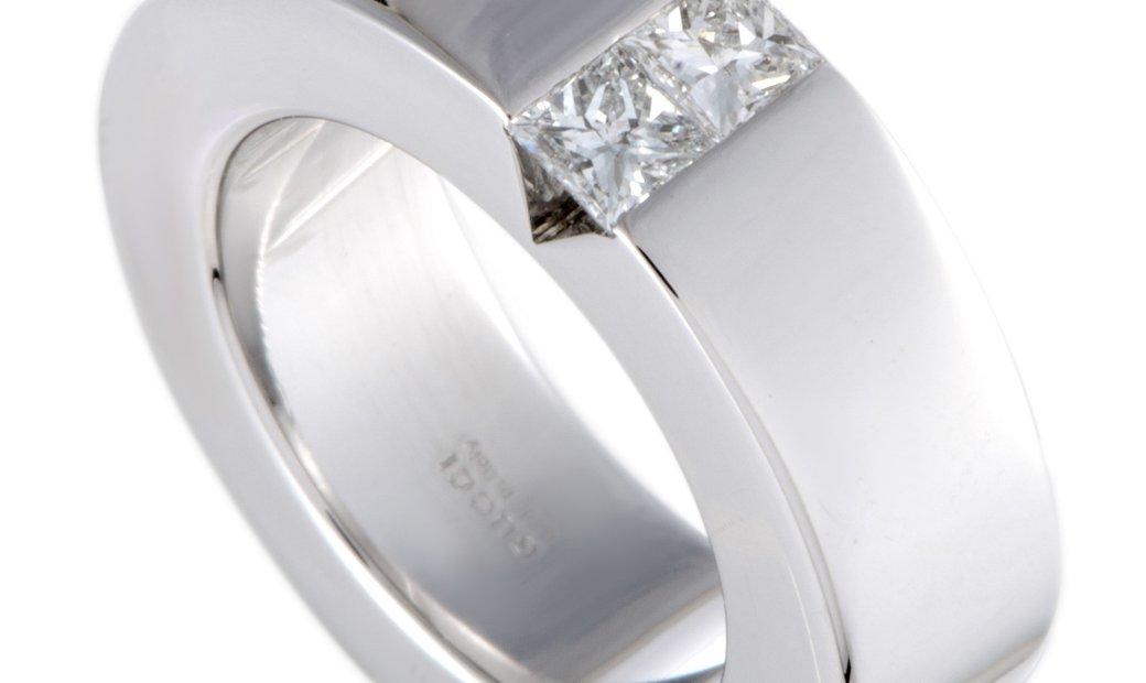 Gucci Gucci 18K White Gold Diamond Invisible Setting Band Ring