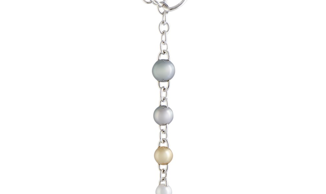 Mikimoto Mikimoto 18K White Gold Diamond and 8.0-12.0mm 4 Multicolor Pearls Drop Pendant Choker Neck