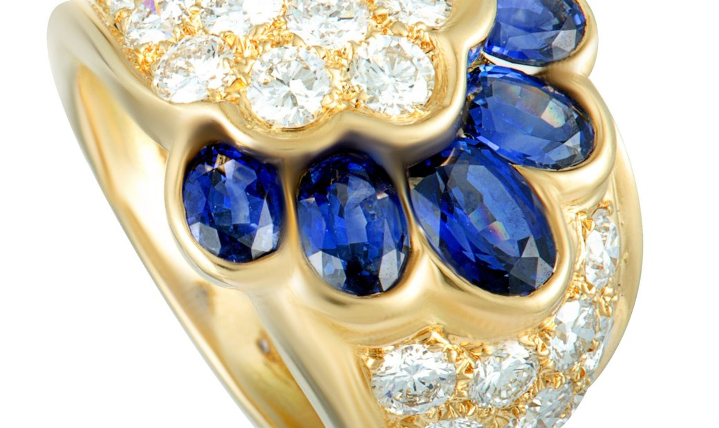 Van Cleef & Arpels Van Cleef & Arpels 18K Yellow Gold Diamond and Sapphire Wide Band Ring