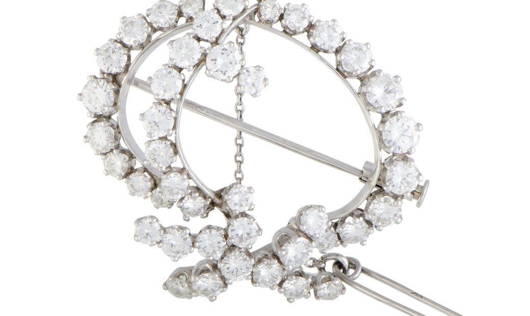 LB Exclusive LB Exclusive Platinum Full Diamond Ellipse Brooch