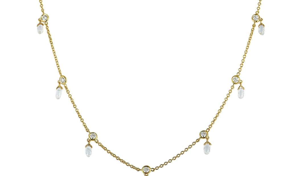 LB Exclusive LB Exclusive 18K Yellow Gold and Diamond Small Dangle Pendant Chain Necklace