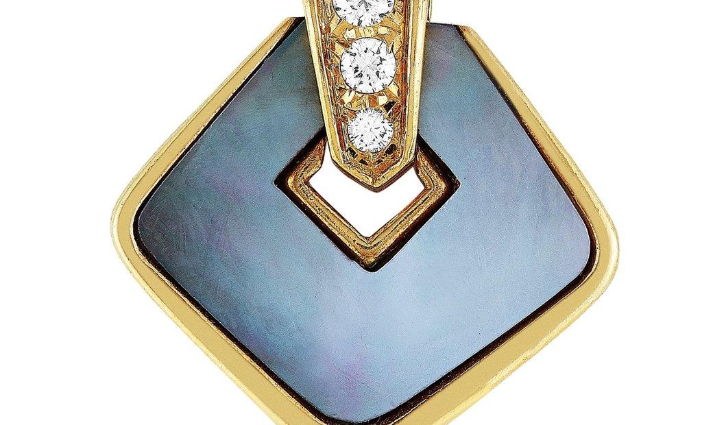 Van Cleef & Arpels Van Cleef & Arpels Vintage 18K Yellow Gold 0.15 ct Diamond and Mother of Pearl Pe