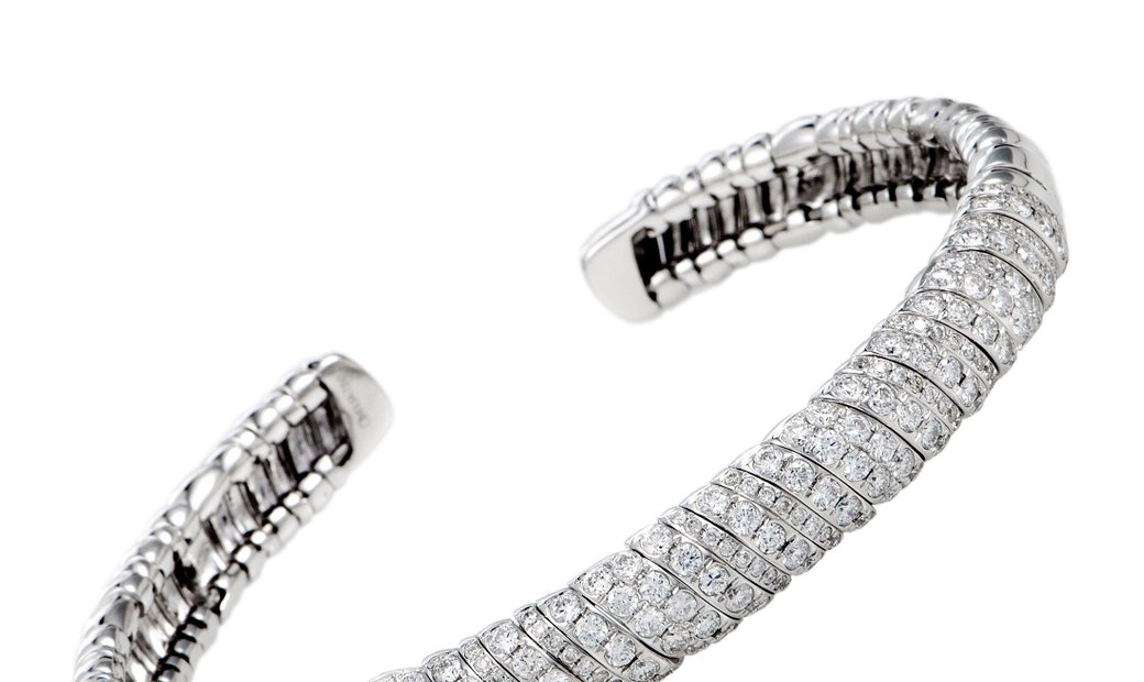 LB Exclusive LB Exclusive 18K White Gold Diamond Open Bracelet