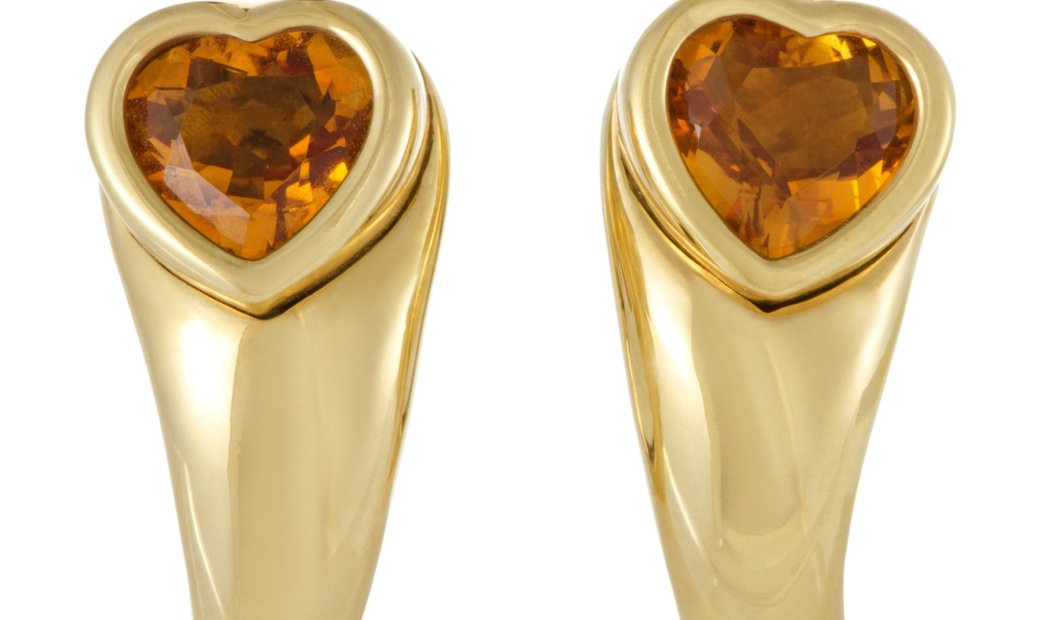 Piaget Piaget 18K Yellow Gold Citrine Heart Clip-on Earrings
