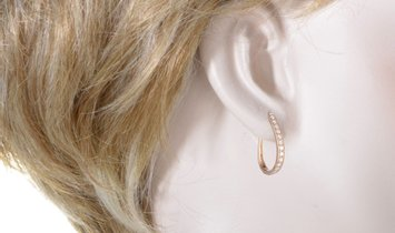LB Exclusive LB Exclusive 14K Rose Gold 1.0 Carat VS1 G Color Diamond Oval Hoop Earrings