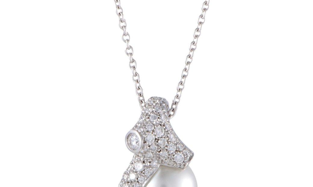 Mikimoto Mikimoto 18K White Gold Diamond and 12.0-13.0mm White Pearl Pendant Necklace