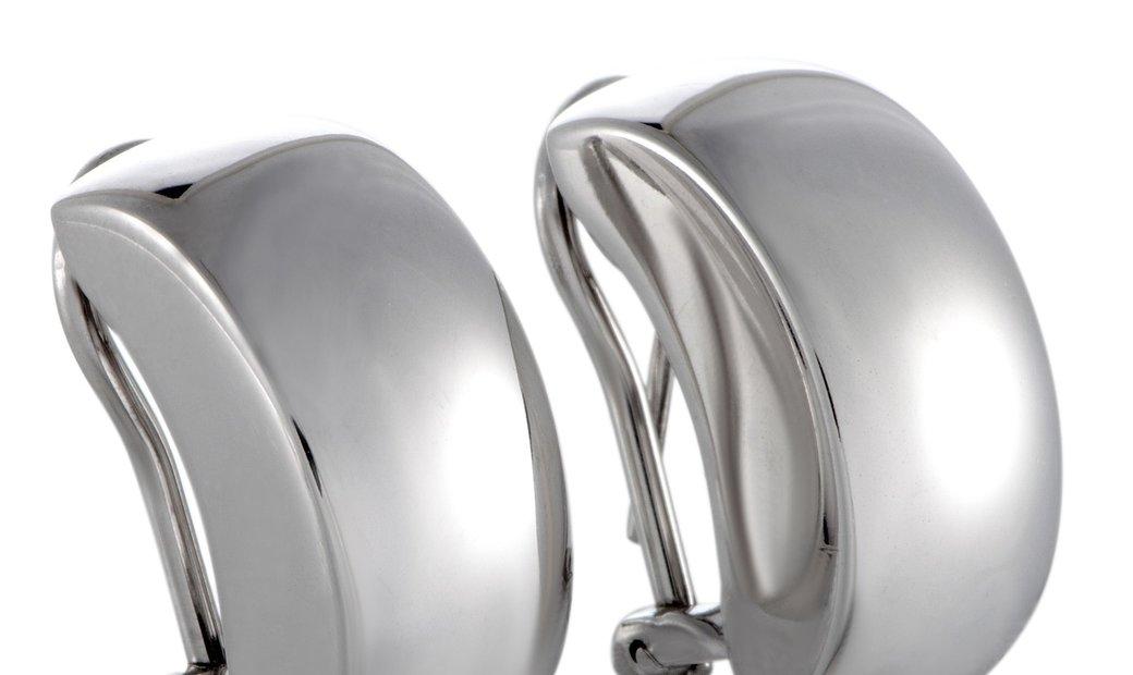 Bucherer  Bucherer 18K White Gold Huggie Clip-on/Omega Back Earrings