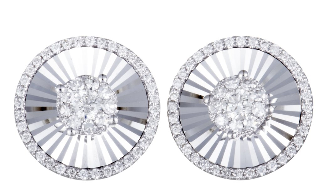 LB Exclusive 14K White Gold ~1ct Diamond Round Stud Earrings