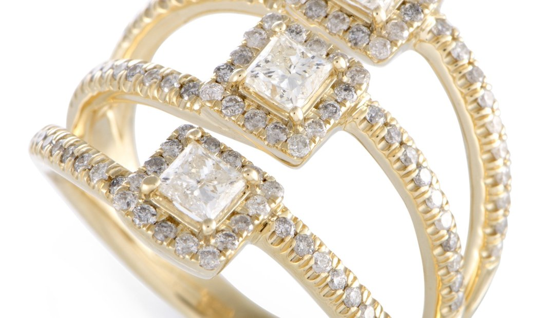 Non Branded 14K Yellow Gold Diamond Three Square Ring