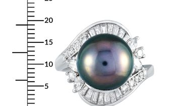 LB Exclusive LB Exclusive Platinum 1.27 ct Diamond and Tahitian Pearl Ring