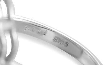 Non Branded 18K White Gold White Diamonds and Brown Center Diamond Oval Ring