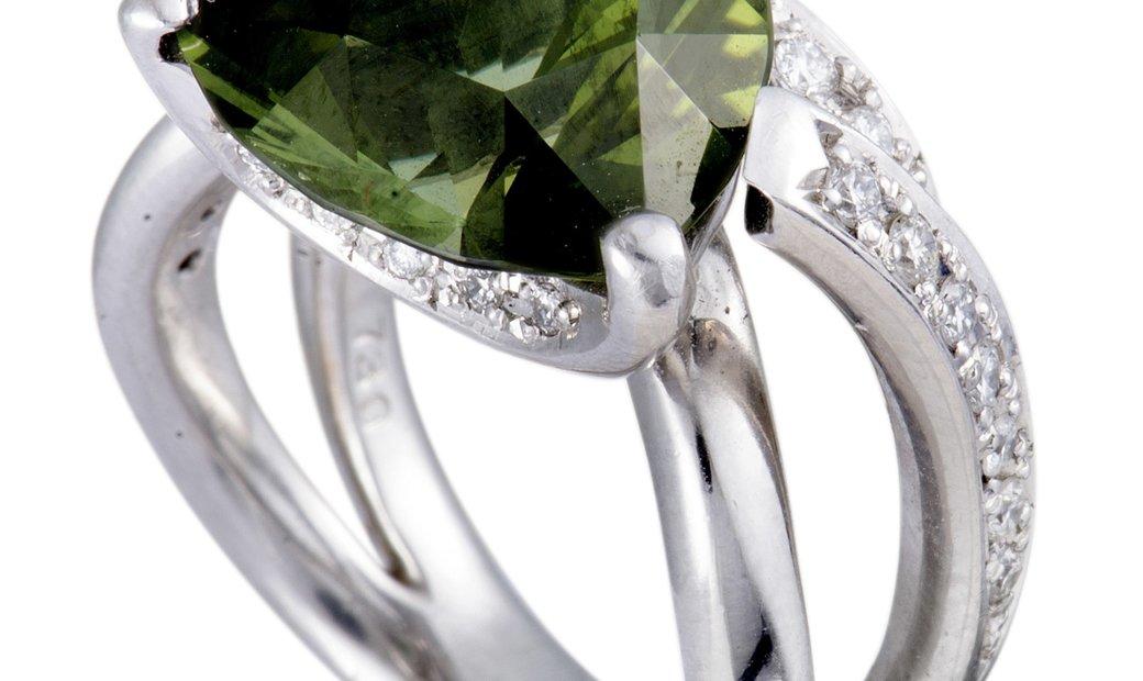 Non Branded Platinum Diamonds and Trillion Cut Green Tourmaline Ring