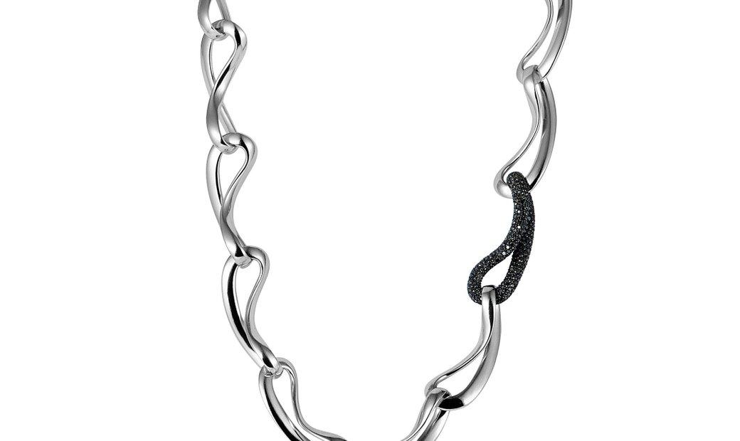 Georg Jensen Georg Jensen Infinity Silver and Black Diamond Necklace