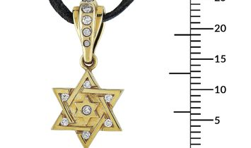 King Baby King Baby 18K Yellow Gold and Leather Diamond Star of David Pendant Necklace
