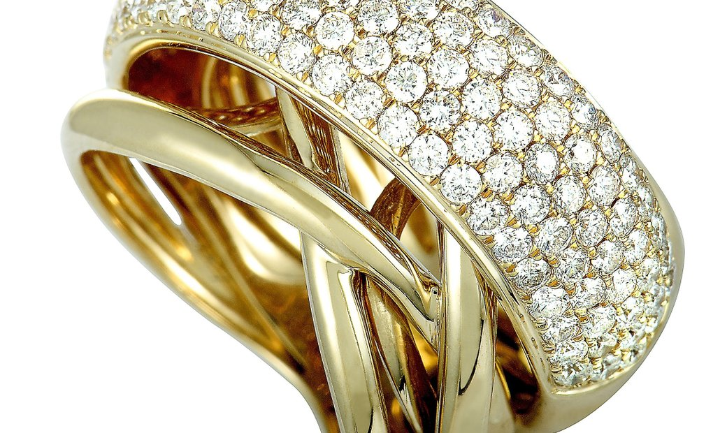 Non Branded 14K Yellow Gold Diamond Wide Band Ring